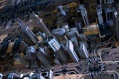 cidade 3D na placa de circuito ilustração stock