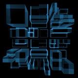 A cidade 3D tornou o raio X azul ilustração royalty free