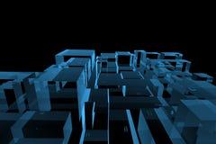 A cidade 3D tornou o raio X azul ilustração do vetor