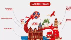 Cidade anfitriã 2018 da arte do mundo do copo 3dmodel de Rússia kaliningrad Konigsberg do futebol do futebol 3dmodel ilustração do vetor