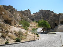 Cidade antiga da caverna em Goreme, Cappadocia, Turquia Fotografia de Stock Royalty Free