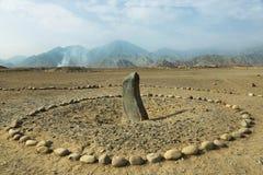Cidade antiga de Caral, local do patrimônio mundial do UNESCO, Peru imagem de stock royalty free