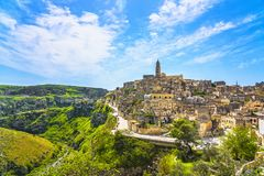 Cidade antiga de Matera mim Sassi, marco do local do Unesco Basilicata, Itália fotografia de stock