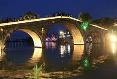 Cidade antiga Shanghai China Ásia da água de Zhujiajiao da ponte de Fangsheng - área cênico fotos de stock royalty free
