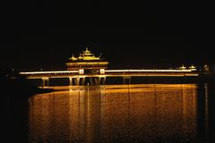 A cidade antiga Tunxi na noite, China Imagem de Stock Royalty Free
