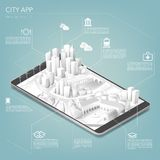 Cidade app ilustração do vetor