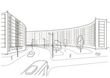 Cidade arquitetónica linear do esboço Fotos de Stock