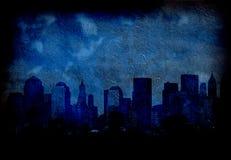 Cidade azul de Grunge ilustração do vetor