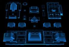 Cidade (azul do raio X 3D) ilustração do vetor