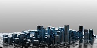 Cidade - azul e preto isolados no cinza ilustração royalty free