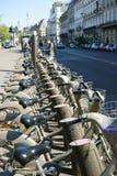 A cidade Bikes Vélib Paris Fotografia de Stock Royalty Free