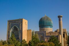 Cidade bonita de Usbequistão de monumentos arquitetónicos de Samarkand e de Bukhara fotos de stock