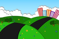 Cidade bonita no Applique dos montes verdes Ilustração do Vetor