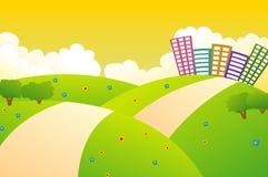 Cidade bonita nos montes verdes com por do sol Ilustração Stock