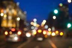 A cidade borrada ilumina o fundo Fotografia de Stock