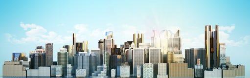 Cidade branca com imagem da rendição da reflexão 3d ilustração do vetor