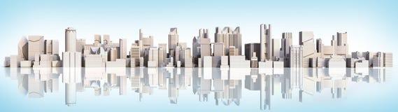 Cidade branca com imagem da rendição da reflexão 3d no inclinação azul ilustração stock