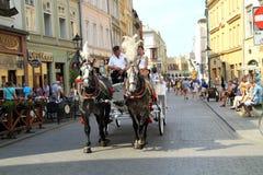 Cidade center velha histórica Krakow no Polônia Foto de Stock Royalty Free