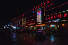 Cidade chinesa da noite, rua com propaganda Imagem de Stock Royalty Free