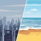 Cidade cinzenta do inverno do molde e recurso tropical, para anunciar o turismo, curso, anúncios, mapa, cartaz, molde, desenhos a ilustração do vetor