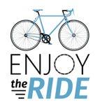 A cidade clássica dos homens, bicicleta da estrada com aprecia o título do passeio, a ilustração detalhada do vetor para o cartão Imagem de Stock Royalty Free