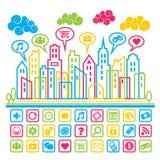 Cidade social dos meios Imagem de Stock Royalty Free