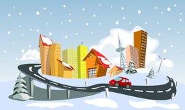 Cidade colorida do vetor do sumário do inverno Imagens de Stock