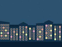 Cidade colorida na noite Apartamentos para a venda/aluguel Casas dos bens imobiliários?, planos para a venda ou para o aluguel Fotografia de Stock