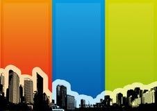 Cidade com listras coloridas. Vetor Imagem de Stock