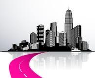 Cidade com os arranha-céus refletidos na água Imagem de Stock Royalty Free