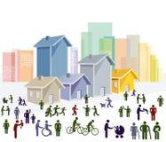 Cidade com pedestres e ciclistas Fotografia de Stock