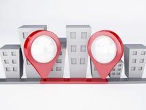 Cidade com ponteiros do mapa conceito dos gps Imagens de Stock