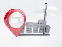Cidade com ponteiros do mapa conceito dos gps Fotos de Stock