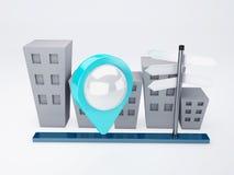 Cidade com ponteiros do mapa conceito dos gps Foto de Stock