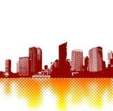 Cidade com reflectio. Vetor Imagem de Stock Royalty Free