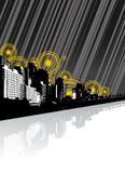 Cidade com reflexão e linhas. ilustração do vetor
