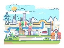 Cidade com rio e moradias Imagem de Stock