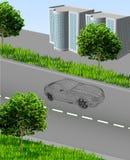 Cidade?? com estrada, carro, casas, grama, árvores ilustração do vetor