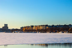 Cidade congelada de Éstocolmo, Sweden. imagem de stock