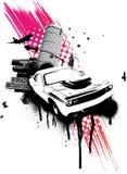 Cidade cor-de-rosa do carro de Grunge ilustração royalty free