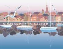 Cidade costeira Imagens de Stock Royalty Free