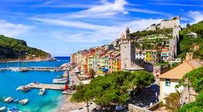 Cidade costeira bonita Portovenere, Cinque Terre, Itália imagens de stock royalty free