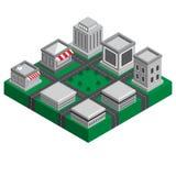 cidade 3D isométrica esperta da construção moderna com paisagem ilustração do vetor