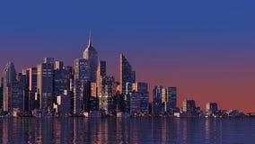 cidade 3D moderna na água ilustração do vetor