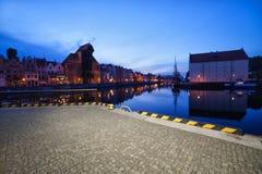 Cidade da arquitetura da cidade da noite de Gdansk Fotografia de Stock