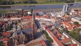 Cidade da catedral de Osijek do c?u vídeos de arquivo