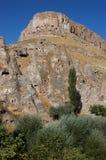 Cidade da caverna de Ortahisar em Cappadocia - ajardine, Turquia Imagens de Stock