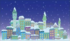 Cidade da construção do Natal ilustração do vetor