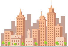 Cidade da construção do vetor dos desenhos animados Foto de Stock