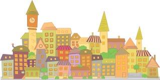 Cidade da construção do vetor dos desenhos animados Fotografia de Stock